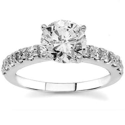14K White Solid Gold Diamond Engagement Ring 1.55 Ctw