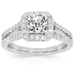 14K White Solid Gold Diamond Engagement Ring 1.69 Ctw