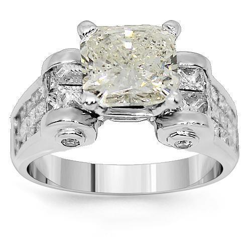 14K White Solid Gold Diamond Engagement Ring 5.93 Ctw