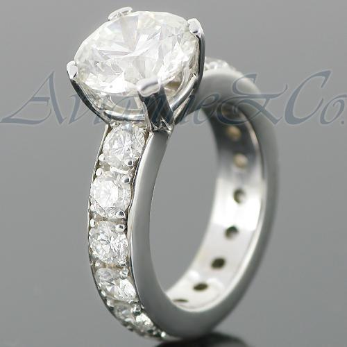 14K White Solid Gold Diamond Engagement Ring 7.31 Ctw