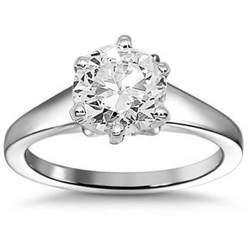 14K White Solid Gold Diamond Solitaire Engagement Ring 0.50 Ctw