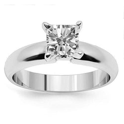 14K White Solid Gold Diamond Solitaire Engagement Ring 0.95 Ctw