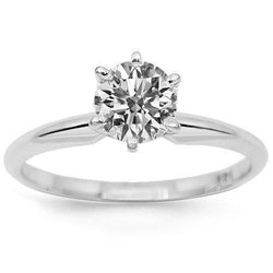 14K White Solid Gold Diamond Solitaire Engagement Ring 1.02 Ctw