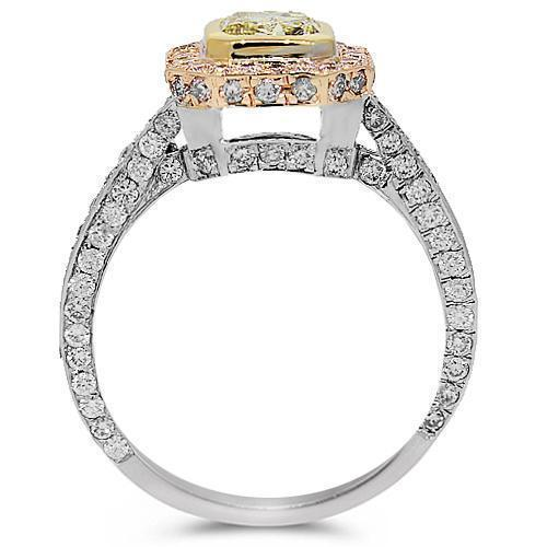 14K White Solid Gold Elegant Diamond Engagement Ring 2.76 Ctw