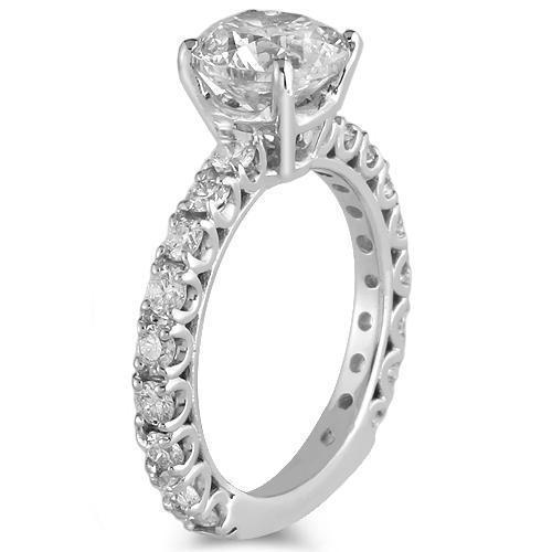 14K White Solid Gold GAI Certified Diamond Engagement Ring 2.79 Ctw