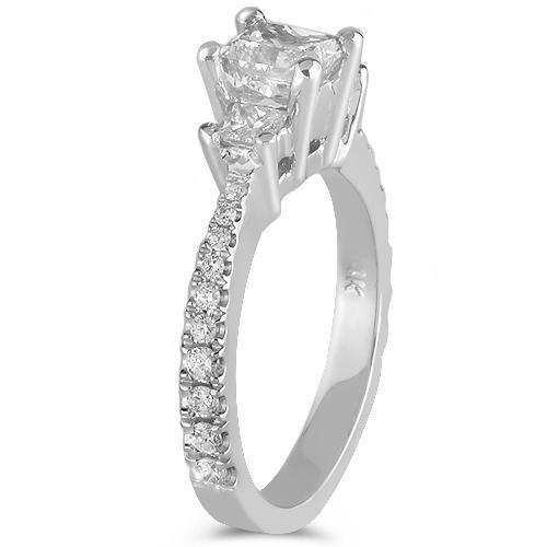 14K White Solid Gold GAI Certified Natural Diamond Engagement Ring 1.65 Ctw