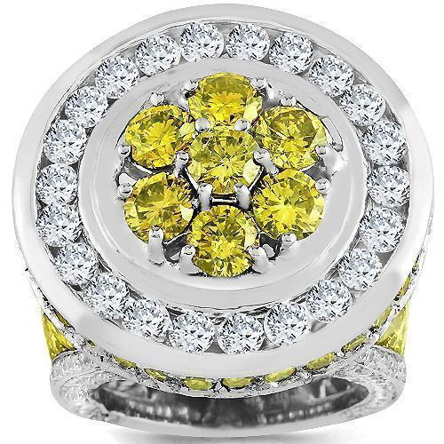 14K White Solid Gold Mens Diamond Custom Pinky Ring with Yellow Diamonds 14.18 Ctw