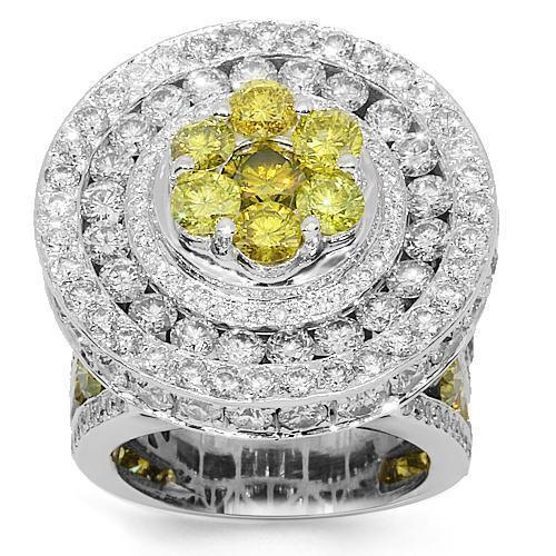 14K White Solid Gold Mens Diamond Custom Pinky Ring with Yellow Diamonds 15.68 Ctw