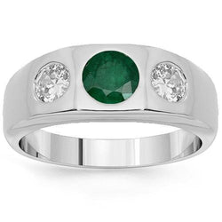14K White Solid Gold Mens Diamond Emerald Pinky Ring 2.15 Ctw