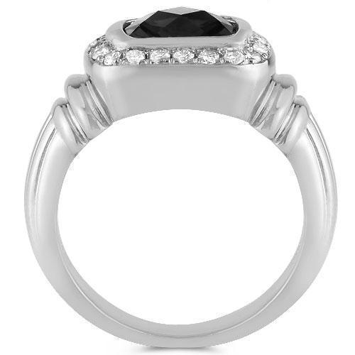 14K White Solid Gold Mens Diamond  Onyx Pinky Ring 3.50 Ctw