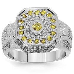 14K White Solid Gold Mens Diamond Pinky Ring with Yellow Diamonds 1.75 Ctw