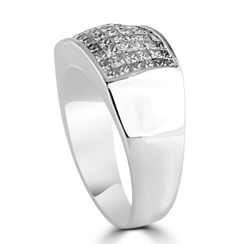 14K White Solid Gold Mens Diamond Princess Cut Ring 2.50 Ctw