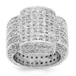 14K White Solid Gold Mens Diamond Ring 13.90 Ctw