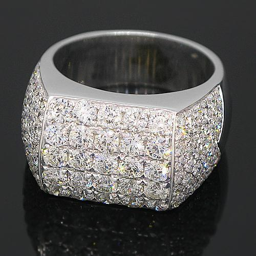 14K White Solid Gold Mens Diamond Ring 5.50 Ctw