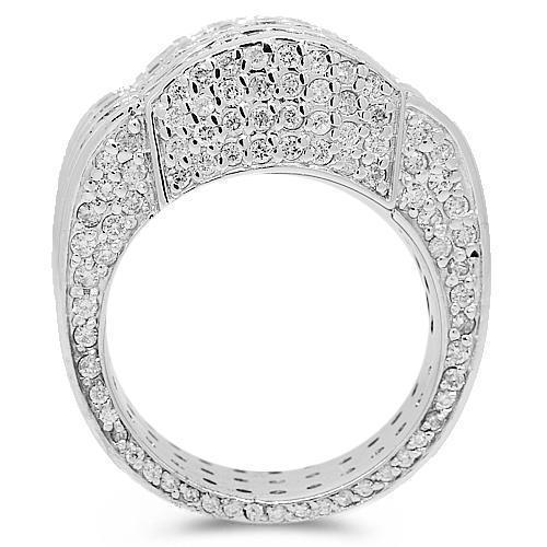 14K White Solid Gold Mens Diamond Ring 7.50  Ctw