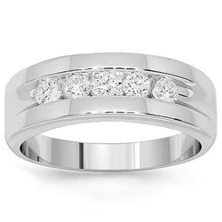 White 14K White Solid Gold Mens Diamond Wedding Band 1.00 Ctw