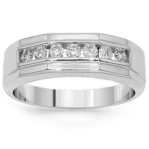 14K White Solid Gold Mens Diamond Wedding Ring Band 0.75 Ctw