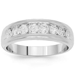 14K White Solid Gold Mens Diamond Wedding Ring Band 1.50 Ctw