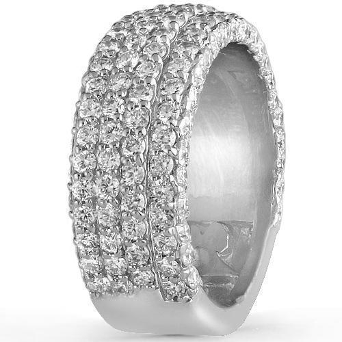 14K White Solid Gold Mens Diamond Wedding Ring Band 4.50 Ctw