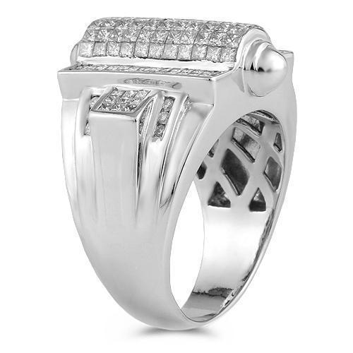 14K White Solid Gold Mens Large Ring With Princess Cut And Round Cut Diamonds 3.75 Ctw