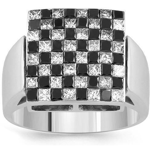 14K White Solid Gold Mens Ring With Black And White Princess Cut Diamond Ring 2.79 Ctw