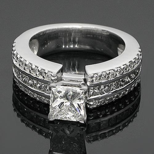 14K White Solid Gold Princess Cut Diamond Engagement Ring 2.26 Ctw