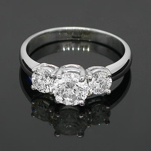 14K White Solid Gold Three Stone Diamond Engagement Ring 1.51 Ctw