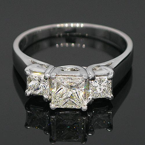14K White Solid Gold Three Stone Diamond Engagement Ring 1.70 Ctw