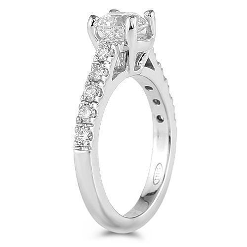 14K White Solid Gold Womens Cathedral Diamond Engagement Ring With Center Stone 1.50 Ctw