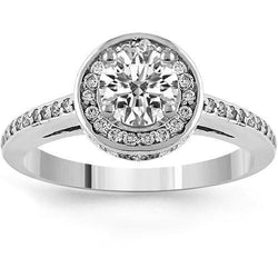14K White Solid Gold Womens Classic Floating Halo Round Cut Engagement Ring 0.95 Ctw