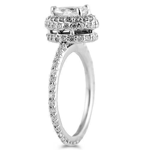 14K White Solid Gold Womens Diamond Bridal Ring Set With EGL Certified Pear Shaped Diamond 2.14 Ctw