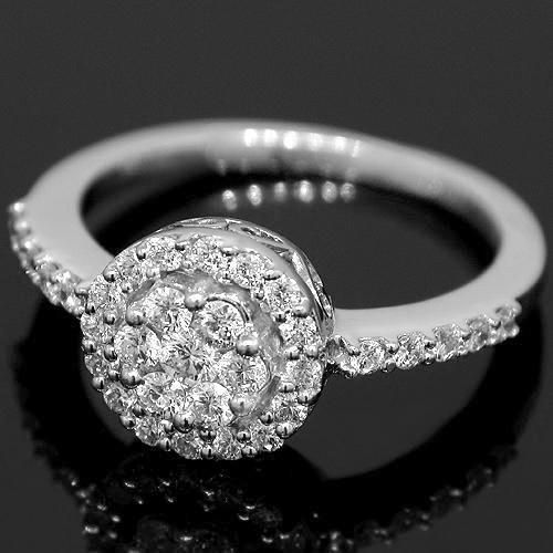 14K White Solid Gold Womens Diamond Cocktail Ring 0.63 Ctw