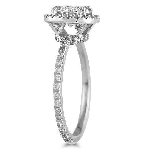 14K White Solid Gold Womens Diamond Petite Pave Floating Halo Engagement Ring 1.54 Ctw