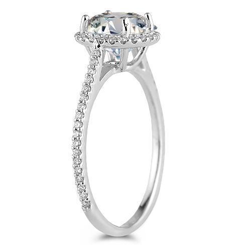 14K White Solid Gold Womens Diamond Petite Pave Floating Halo Engagement Ring 1.95 Ctw