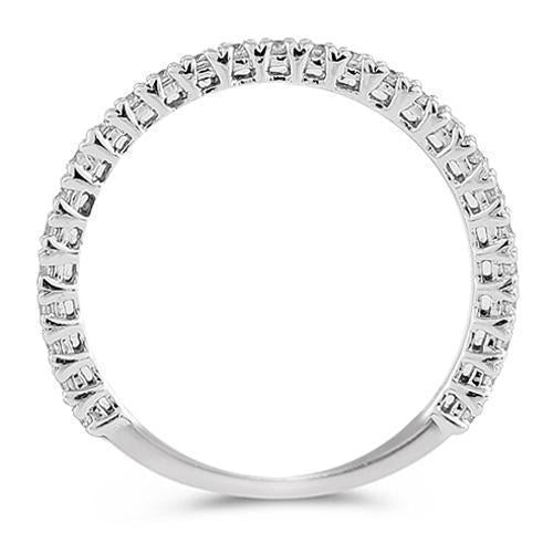 14K White Solid Gold Womens Diamond Petite Pave Wedding Ring Band 0.50 Ctw
