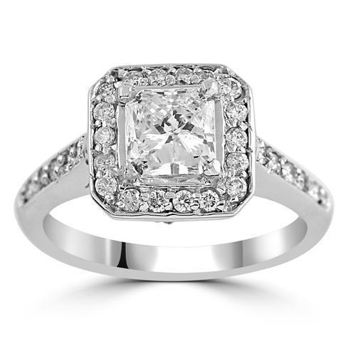 14K White Solid Gold Womens Diamond Square Halo With Side Stones Engagement Ring 1.52 Ctw