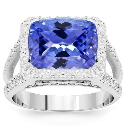14K White Solid Gold Womens Diamond Tanzanite Ring 8.41 Ctw