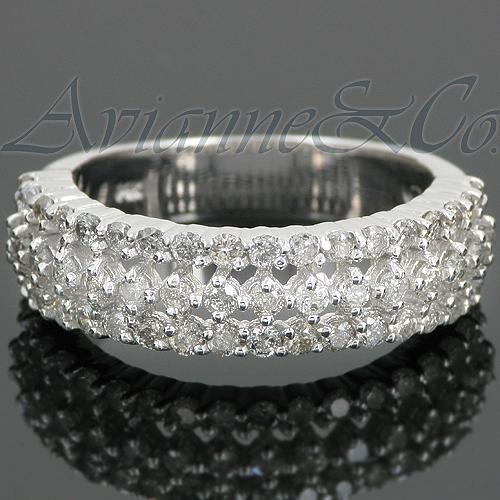 White 14K White Solid Gold Womens Diamond Wedding Band 1.00 Ctw