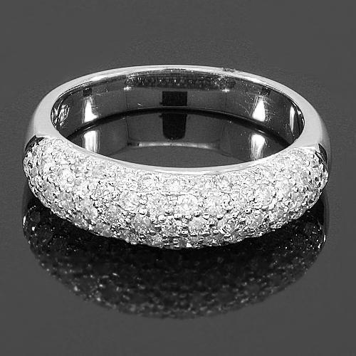 White 14K White Solid Gold Womens Diamond Wedding Band 1.03 Ctw