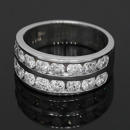 14K White Solid Gold Womens Diamond Wedding Band 2.01 Ctw
