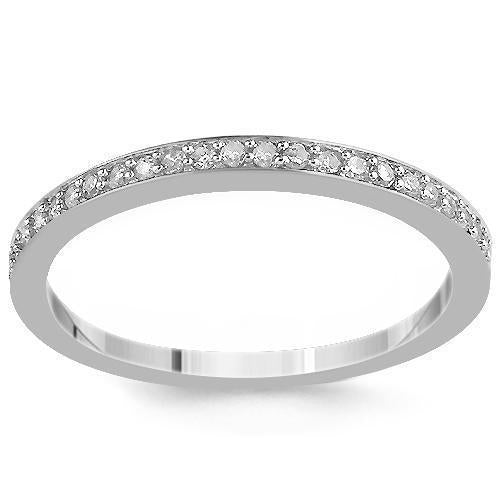 14K White Solid Gold Womens Diamond Wedding Ring Band 0.12  Ctw
