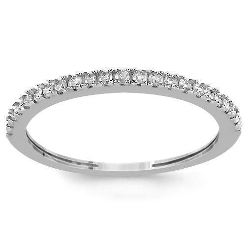 14K White Solid Gold Womens Diamond Wedding Ring Band 0.13 Ctw