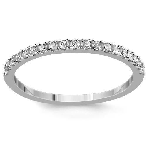 14K White Solid Gold Womens Diamond Wedding Ring Band 0.21 Ctw
