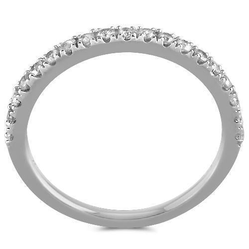 14K White Solid Gold Womens Diamond Wedding Ring Band 0.22 Ctw