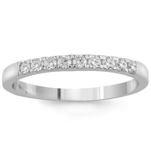 14K White Solid Gold Womens Diamond Wedding Ring Band 0.30  Ctw