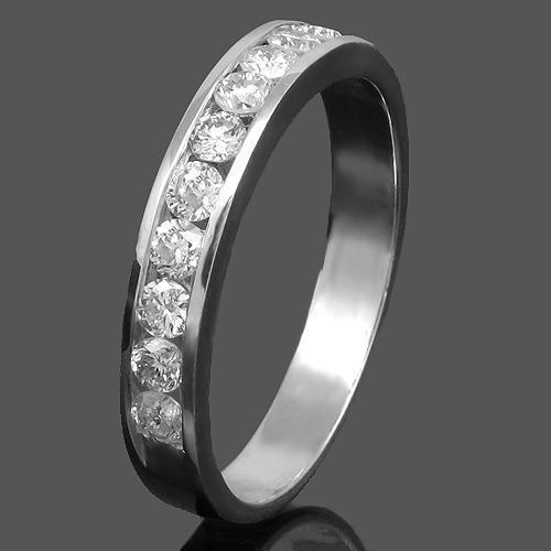 14K White Solid Gold Womens Diamond Wedding Ring Band 0.59 Ctw