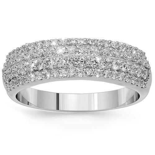 14K White Solid Gold Womens Diamond Wedding Ring Band 0.79 Ctw