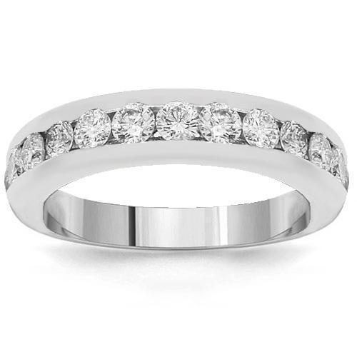 14K White Solid Gold Womens Diamond Wedding Ring Band 1.00 Ctw
