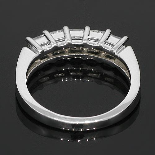 14K White Solid Gold Womens Five Stone Diamond Anniversary Band 1.50 Ctw