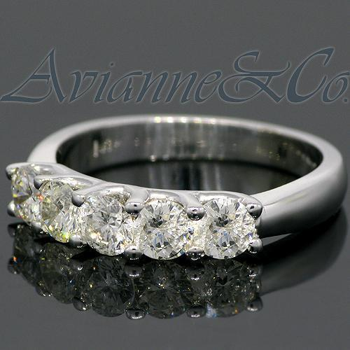 14K White Solid Gold Womens Five Stone Diamond Anniversary Ring 1.25 Ctw